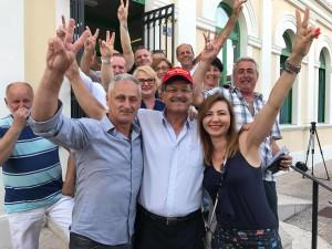 gradonačelnik i zamjenici: Ivo Dujmić, Emil Priskić i Vera Šantić na dan izborne pobjede nad SDP-ovom koalicijom (foto: facebook)